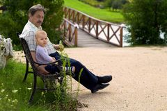Grandfather and baby boy Stock Image