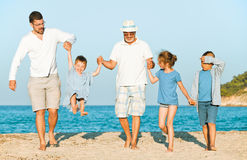 Grandfather beach family Royalty Free Stock Photography