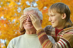 Grandfather with boy Royalty Free Stock Photography