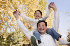 Grandfather Carrying Granddaughter on His Shoulders Stock Photo