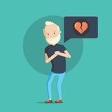 Grandfather character with heart attack. Royalty Free Stock Photography
