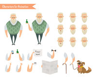 Grandfather character for scenes. Stock Photos