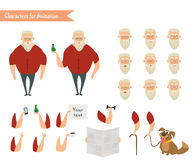 Grandfather character for scenes. Royalty Free Stock Images