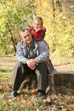 Grandfather with child Stock Images