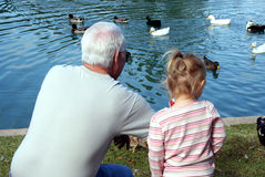 Grandfather and Child. A grandfather and his grandchild enjoy watching the ducks at the park pond Royalty Free Stock Images