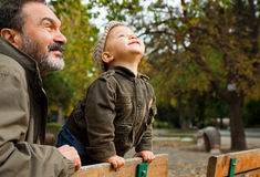 Grandfather child autumn Royalty Free Stock Photography