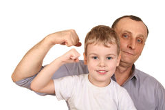 Grandfather child biceps stock photo