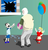Grandfather and children's. Stock Image