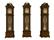 Grandfather Clocks. Isolated grandfather clocks Stock Images
