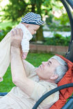 Grandfather and cute grandchild baby Royalty Free Stock Photo