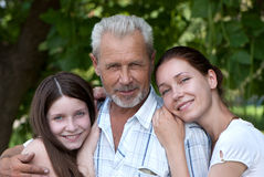 Grandfather, daughte and granddaughter outdoor Stock Photos