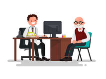 Grandfather at the doctor. Vector illustration. Of a flat design Stock Images