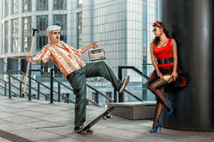 Grandfather drops to skate. Royalty Free Stock Images