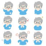 Grandfather with different emotions cartoon vector. stock illustration