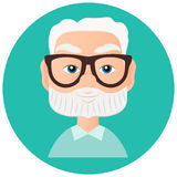 Grandfather Faces Avatar in circle. Vector illustration eps 10 isolated on white background. Flat cartoon style. Royalty Free Stock Images