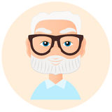 Grandfather Faces Avatar in circle. Vector illustration eps 10 isolated on white background. Flat cartoon style. Royalty Free Stock Photos