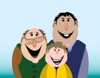 The grandfather, the father and the son. Vector illustration stock illustration