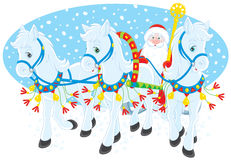 Grandfather Frost. Vector clip-art of Grandfather Frost or Santa Claus driving in his sleigh pulled by three white horses Royalty Free Stock Images