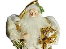 Grandfather Frost Santa Claus, St. Nicholas, Joulupukki with presents on a white background. Retro royalty free stock photo