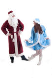 The grandfather frost and Snow Maiden dance  Royalty Free Stock Photo