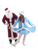 The grandfather frost and Snow Maiden dance Royalty Free Stock Photography