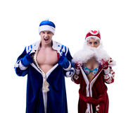 Grandfather Frost and Snow Maiden exchanged bodies Royalty Free Stock Images