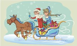 Grandfather frost and snow maiden on sleigh Stock Images