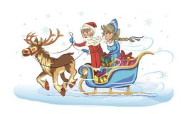 Grandfather frost and snow maiden on sleigh Stock Image