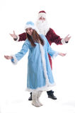 The grandfather frost and Snow Maiden welcome Royalty Free Stock Photography