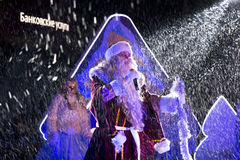 Grandfather Frost on stage on the square in Pyatigorsk, Russia Royalty Free Stock Photos