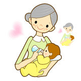 Grandfather give a baby milk a bottle. Marriage and Parenting Ch Stock Photos