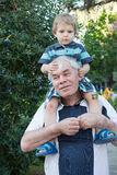 Grandfather Giving Grandson Ride On Shoulders Outdoors Stock Photo