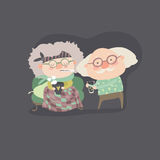 Grandfather giving his care to sick grandmother. Vector illustration Stock Images