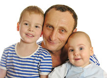 Grandfather with grandchildren. Isolated royalty free stock photos