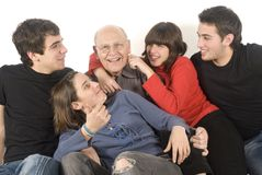Grandfather and grandchildren Stock Images