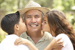 Grandfather With Grandchildren In Garden Stock Image