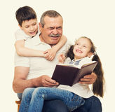 Grandfather and grandchildren portrait Stock Image