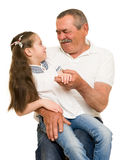 Grandfather and grandchildren portrait. Studio shoot stock photography