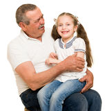 Grandfather and grandchildren portrait. Studio shoot royalty free stock images