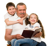 Grandfather and grandchildren portrait. Studio shoot stock photography