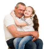 Grandfather and grandchildren portrait. Studio shoot royalty free stock image