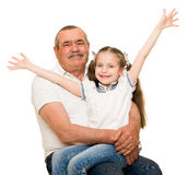 Grandfather and grandchildren portrait. Studio shoot royalty free stock photo