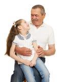 Grandfather and grandchildren portrait Stock Image
