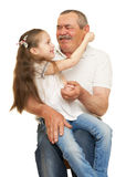 Grandfather and grandchildren portrait. Studio shoot royalty free stock photography