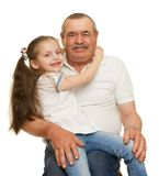 Grandfather and grandchildren portrait studio shoot Royalty Free Stock Images