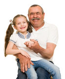 Grandfather and grandchildren portrait. On white royalty free stock image