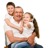 Grandfather and grandchildren portrait Royalty Free Stock Image