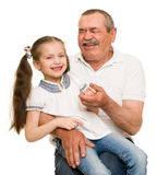 Grandfather and grandchildren portrait. On white royalty free stock images