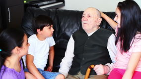 Grandfather and grandchildren stock video footage