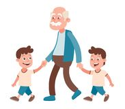 Grandfather and grandchildren twins walking. Grandfather with his grandchildren walking, he takes them by the hand. Two boys, twins. Cartoon style, isolated on Stock Photo